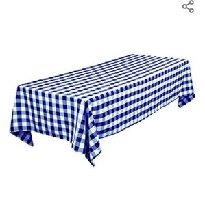Thick polyester fabric (1 tablecloth weighs 1.95 lb) blue/white check tablecloth